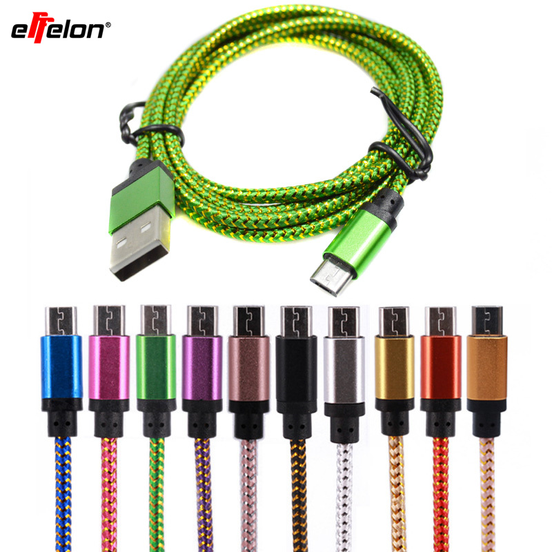 Effelon 25cm/1M/2M/3M Micro USB Cable Charger Data Sync Nylon USB Cable For Android Smart Phone for tablet PC