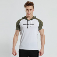 Factory direct quick drying breathable wicking running fitness casual sports hooded short sleeved T shirt male
