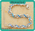 HERMOSA JEWELRY Design Blue Australia Fire Opal 925 Sterling Silver Chain Christmas GIFT  Bracelets 7''-9'' HF49