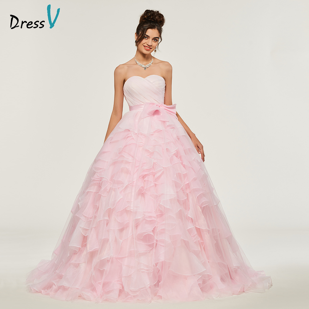 Dressv Pink Ball Gown Puffy Quinceanera Dresses Lace Up Princess Bowknot Rufflues Sweet 16 Dress Vestidos De Debutante 15 Anos