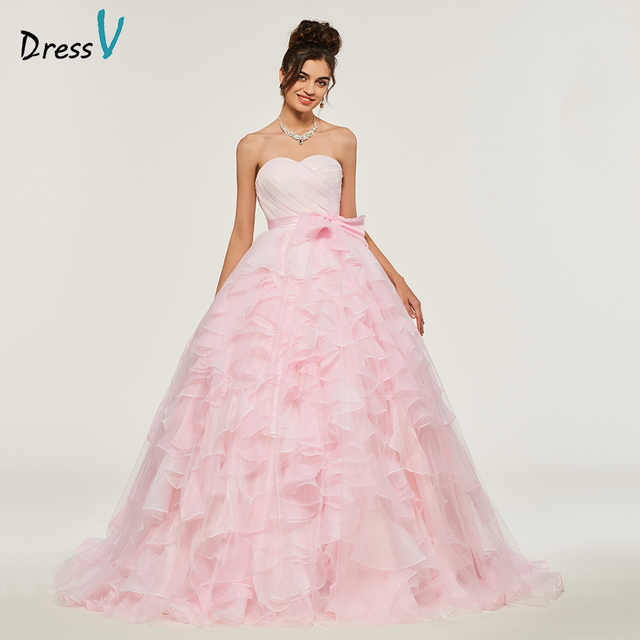 0e669c59a65 Dressv Pink Ball Gown Puffy Quinceanera Dresses Lace Up Princess Bowknot  Rufflues Sweet 16 Dress Vestidos De Debutante 15 Anos