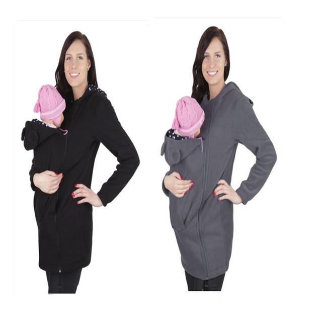 women mom Autumn Baby Carrier Hoodie Zip Up Maternity Kangaroo Hooded  Sweatshirt Pullover 2 In 1 Baby Carriers S070 2172b3e8e5