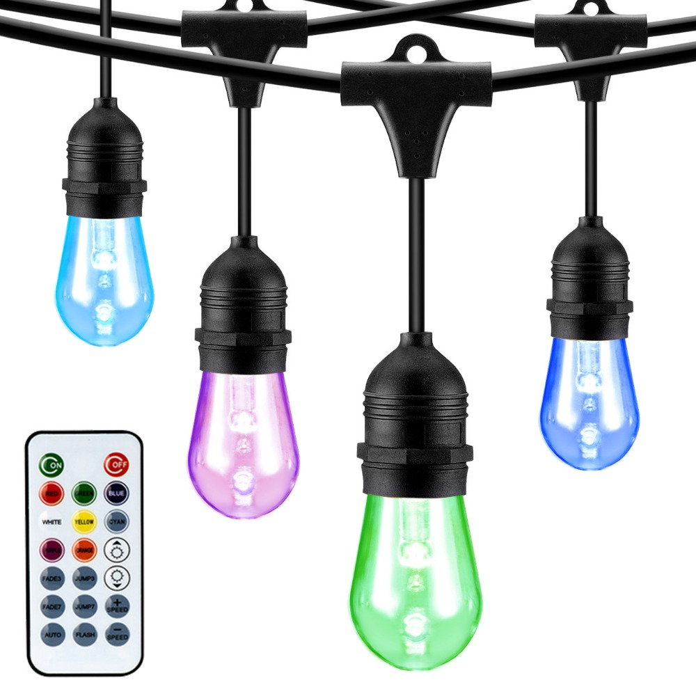 Mpow Outdoor String Light 49ft LED RGB Color Changing Waterproof 24+2 Impact Resistant Bulbs with Remote Controller lichterkette