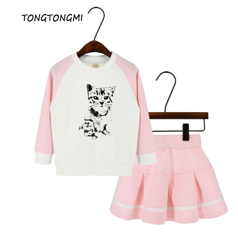 Spring 2018 2pcs Clothing Sets Cartoon Cats Girls Suit Clothing Sets Cotton Girls Skirt Children Clothing for Kids 2-7 Years