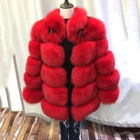 2018 new luxury women fashion warm winter thick fox fur coat genuine thick middle long sleeve outwear Russia warm real fur coat