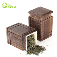 1pc High Quality Square Paulownia Wooden Teabox Travel Outdoor Tea Storage Tanks Sealed Cans