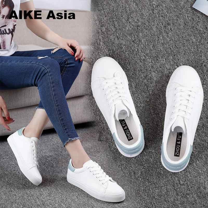 ¡Oferta! Zapatillas de deporte para mujer 2020, zapatos vulcanizados transpirables de moda, zapatos de plataforma de cuero Pu para mujer, zapatos informales con cordones blancos