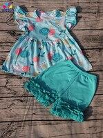Aicton toptan bebek kız flutter kol yeni çiçek desen dress match fırfır şort bebek toddler giyim seti