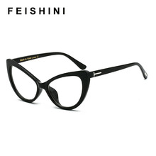 FEISHINI High Quality Cateye Glasses Frame Women Vintage Celebrity Retro BLACK Sexy Cat eye Eye glasses Female Eyewear