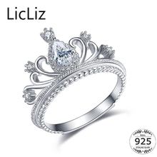 LicLiz Silver Crown Ring For Women Party Finger Jewelry Sterling Wedding Band Anel Princess CZ Zircon LR0337