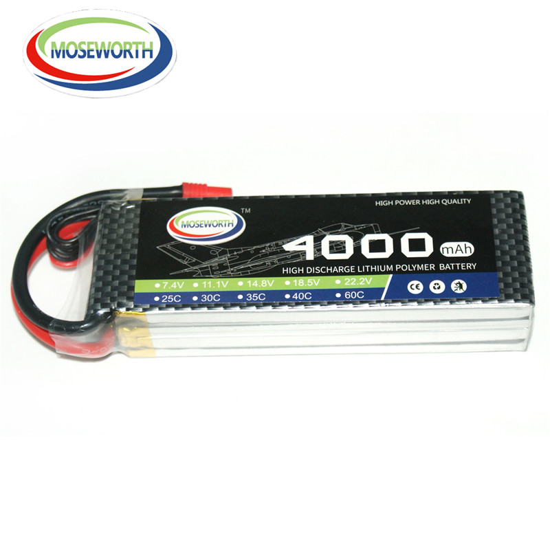 MOSEWORTH RC Lipo Battery 11.1v 3S 4000mAh 30C For RC Aircraft Quadcopter Helicopter Car Boat Drones Airplane Li-polymer 3S AKKU new 7 4 11 v 2s 3s lipo battery balance charger for rc helicopter quadcopter