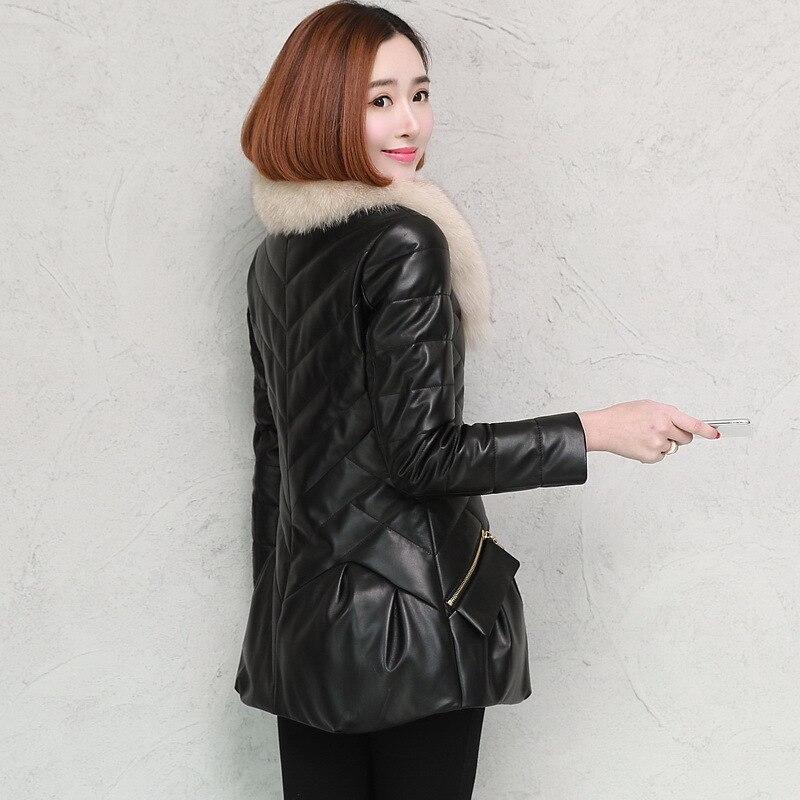 Manteau Col Cheveux Vers Élégant A258 Moulante Épaisse Veste Le Fox Femmes Vêtements Black Moutons Hiver Véritable 2018 red Bas En Cuir EzqgS6qna