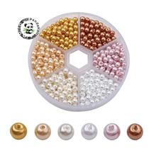 Glass Pearl Bead Sets, Pearlized, Round, Mixed Color, 4mm, Hole: 1mm; about 810pcs/box