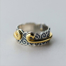 Personality Temperament Exquisite 925 Silver Jewelry Thai Silver Curse Female Tight Hoop Rhyme Clouds Ring    SR240