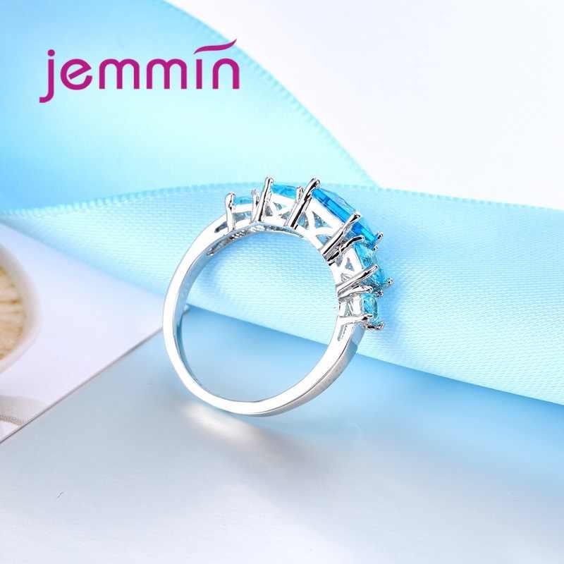 Encantadores Anillos de dedo de diamantes de imitación a la moda, anillo de cristal transparente de mosaico para mujeres, los mejores regalos, Anillos de plata esterlina 925, joyería