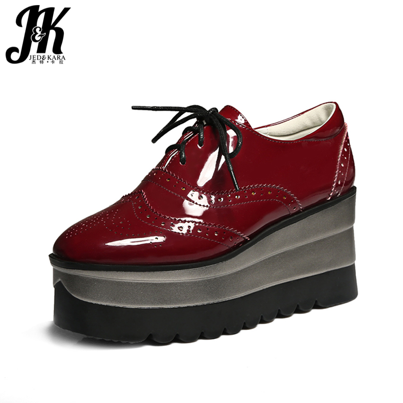 J&K Big Size 34-42 2017 Brand Platform Shoes Women Lace up Casual Pumps Wedges Heeled Spring burgundy Square toe Brogue Shoes morazora plus size 34 42 wedges shoes med heels 4 5cm round toe single shoes fashion lace up women pumps platform