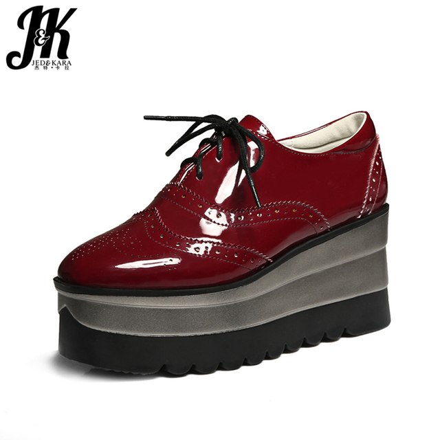 J&K Big Size 34-42 2017 Brand Platform Shoes Women Lace up Casual Pumps Wedges Heeled Spring burgundy Square toe Brogue Shoes