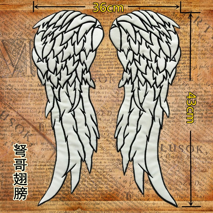 17 inches Embroidery twill <font><b>Biker</b></font> <font><b>Patches</b></font> <font><b>Angel</b></font> Wings for Jacket Back Motorcycle reflect light in night image
