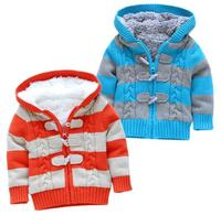 Free shipping Retail new autumn winter baby boy sweaters baby clothes children outerwear girls stripe sweater cardigan coat