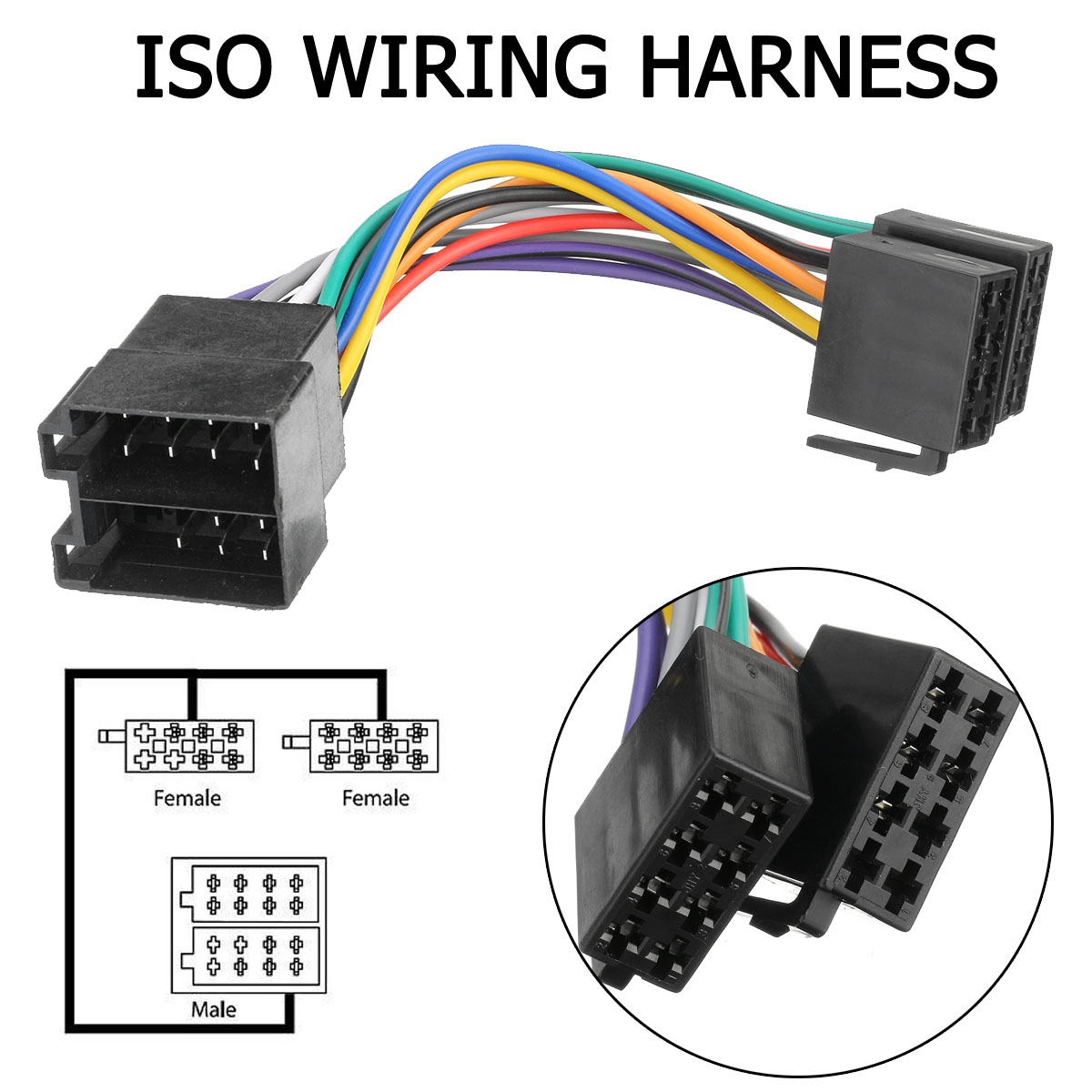 Audew Car Stereo Radio Player ISO Wiring Harness Connector For Holden on trailer plugs, trailer brakes, trailer mounting brackets, trailer fuses, trailer hitch harness, trailer generator,