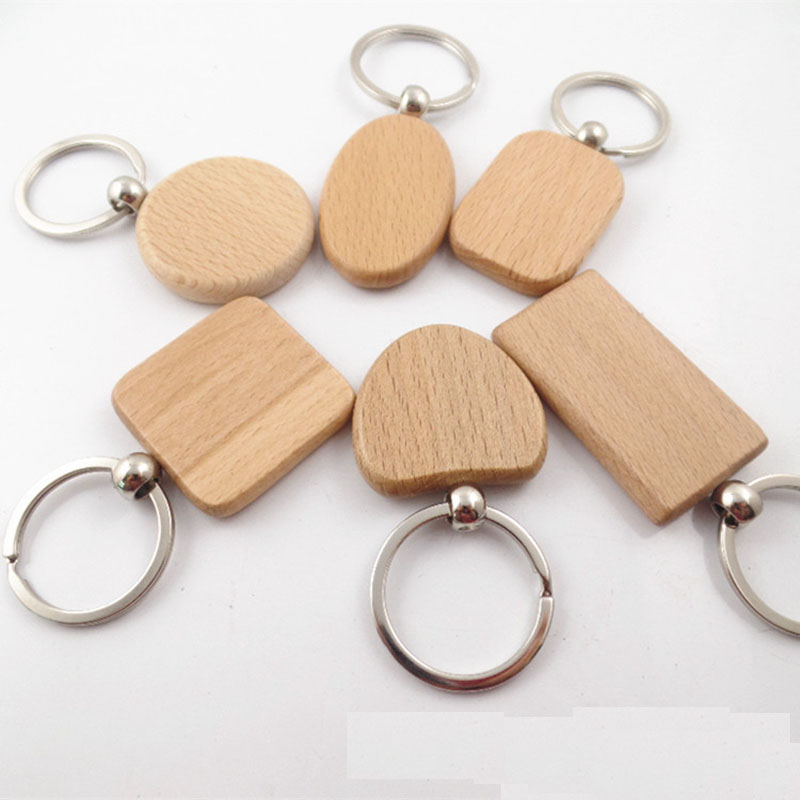 20pcs Blank Round Rectangle Wooden Key Chain DIY Promotion Customized Wood Keychains Key Tags Promotional Gifts