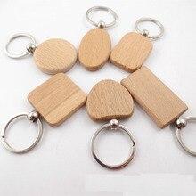 20 шт пустые круглые прямоугольные деревянные брелки DIY продвижение индивидуальные деревянные брелки для ключей рекламные подарки