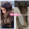 Full Shine Clip Extensions Skin Weft Balayage Color #4#4#24 Clip in Human Hair Extensions Double Weft Highlighted Brazilian Hair