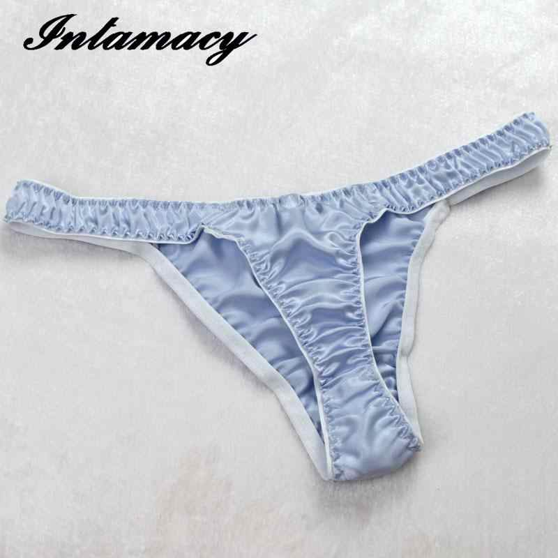 514d71dd0b88 ... Comfortable Thong 100% real Silk Thong Sexy Female Waist Pants  Antibacterial Health T ...