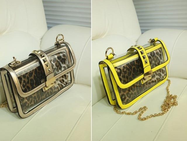 2014 new Summer bags women new Transparent Leopard Print  Women shoulder bag  Women Day Clutches