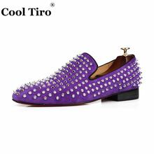 66051c65802 COOL TIRO Studded Stuts Spikes Men Loafers Purple Suede Slipper Casual  Shoes Wedding Party Men Dress
