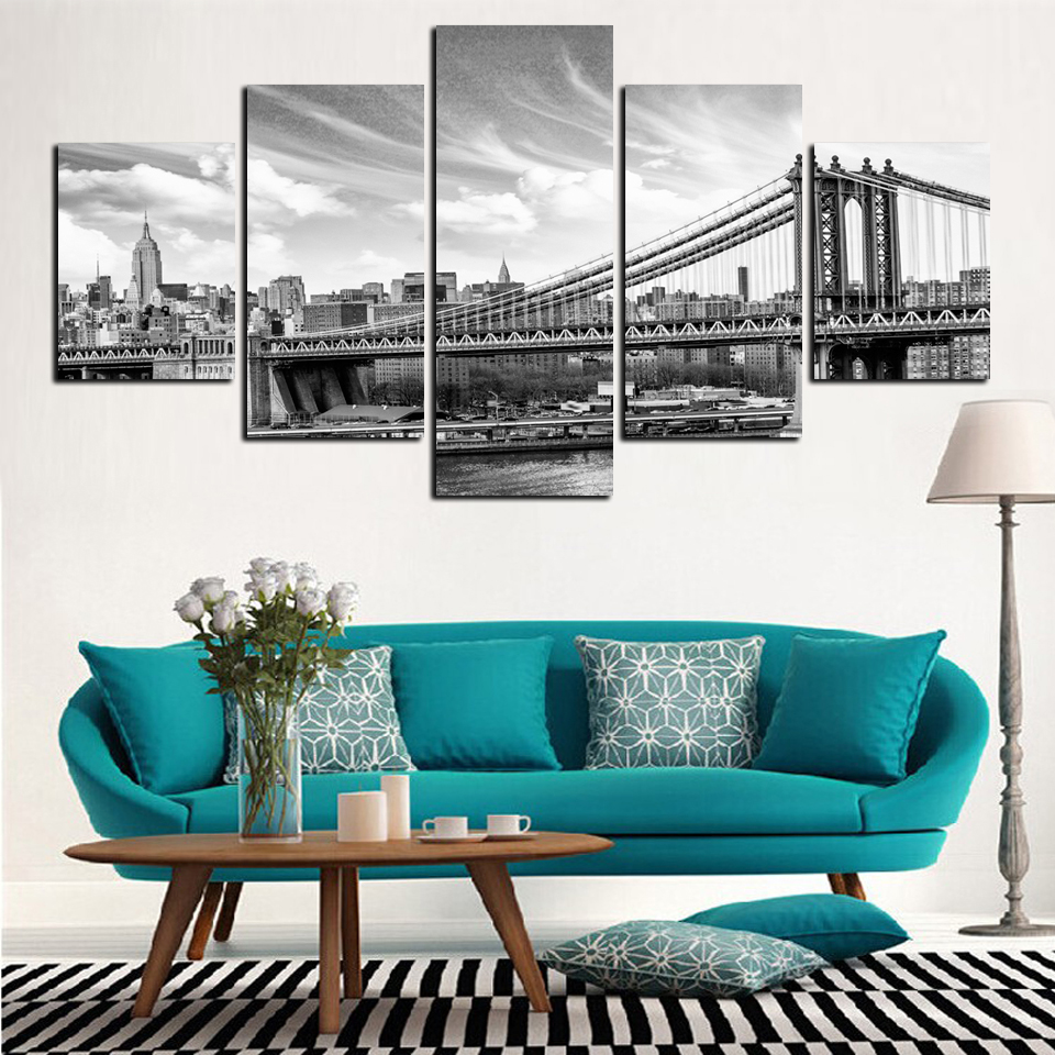 5 pieces city of urban black and white sand-bridge canvas painting decoration office hotel art work wall unframed FA152