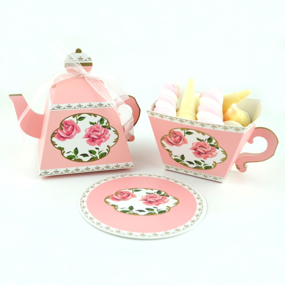 100pcs Mini Teapot cup Creative DIY dessert pastry Candy Boxes wedding favors gifts Baby Shower Christmas