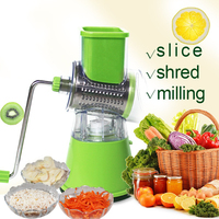 3 in 1 Manual Vegetable Cutter for Slice mill Shred Round Blades Blades easy Cut Potato meat apple Kitchen Accessories Gadgets