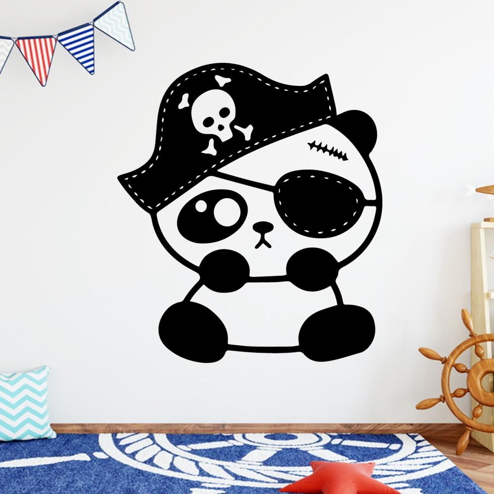 Cartoon Panda pirate Home Decor Vinyl Wall Stickers Living Room Children Decal