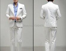 custom Classic Men's Wedding Dress Bridegroom Tuxedos Best man Suit Wedding Groomsman(Jacket+Pants+Tie)white suits Free Shipping