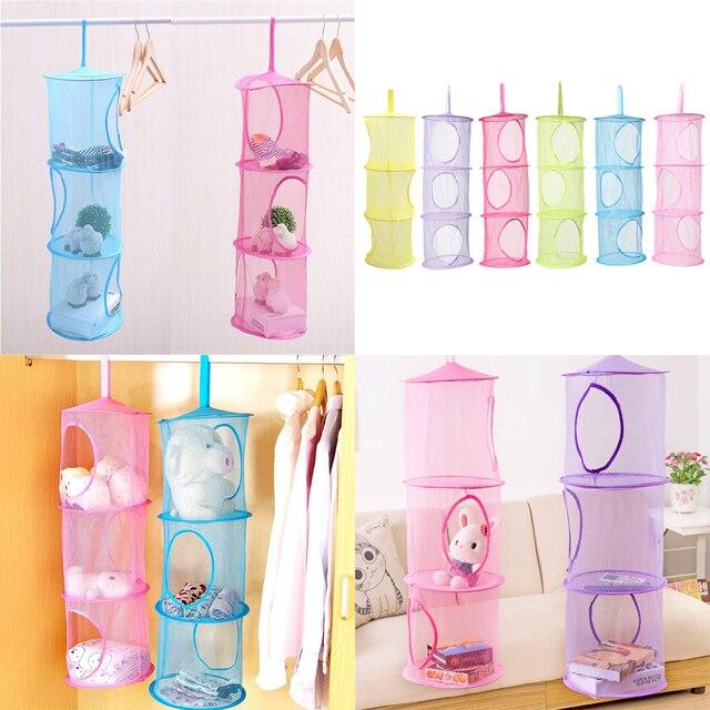 High Quality Diy 3 Layer Hanging Storage Net Kids Toy Organizer Bag Bedroom Wall Door Closet