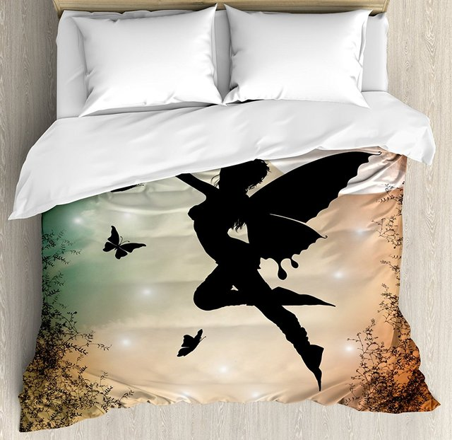 Apartment Duvet Cover Set Black Fairy With Angel Wings Erflies And Sun Like Alluring Round Light 4 Piece Bedding