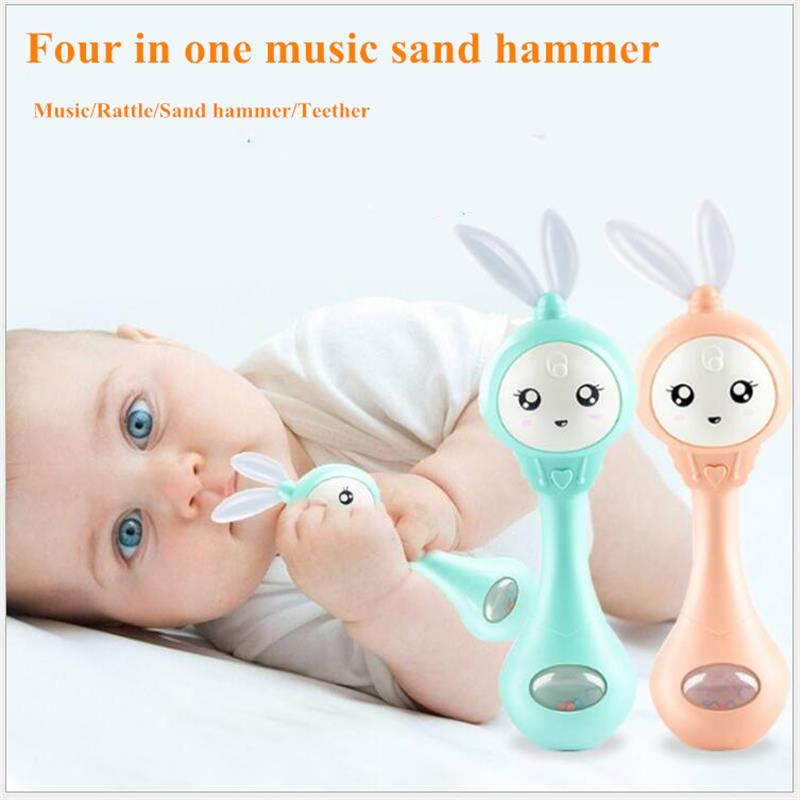 Four In One Music Flashing Sand Hammer Baby Teether Rattles Toy Educational Safety Material Hand Bell Early Learning Toys