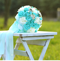 2017 Romantic Tiffany Blue Wedding Bouquets Handmade Artificial Pearls Flower Rose Bridal Bouquet Babysbreath Wedding Bouquets