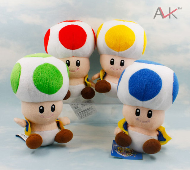 "free shipping Mario Mario/super Mary 7"" blue red green yellow 4 color mushroom people plush doll Super Mario plush toy5pcs/lot"