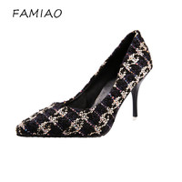 FAMIAO Sexy Pointed Toe Ladies 2018 Brand Pumps High Heels Women Pumps Shoes Woman Party Wedding