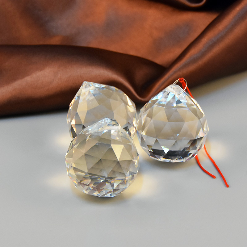 5pc 40mm Crystal Faceted Ball Chandelier Crystal Parts Hanging Pendant Lighting Ball Suncatcher Wedding Home Decor