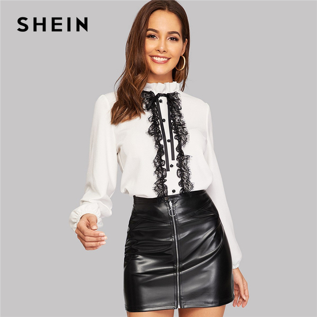 a55a99ddc SHEIN White Tie Neck Buttoned Lace Trim Keyhole Back Blouse Elegant Frill  Stand Collar Long Sleeve
