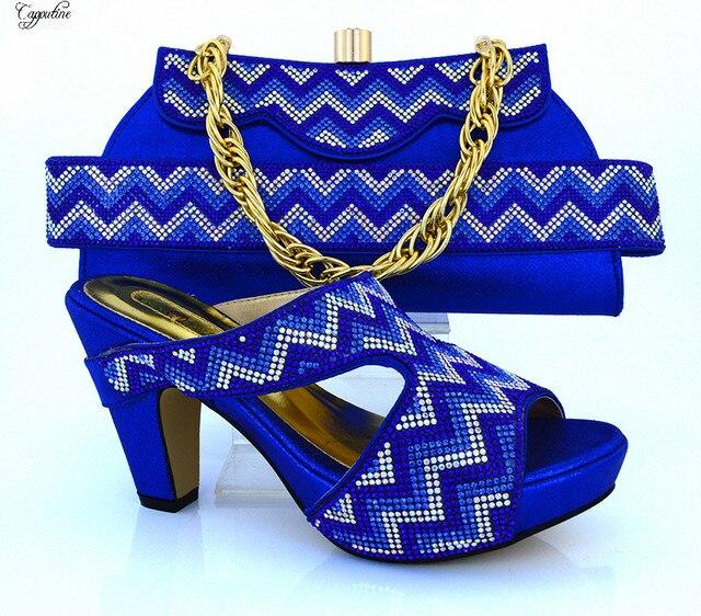 e8004e4a56e01e Merveilleux royal bleu haute talon sandale chaussures et sac ensembles  parti Africain ensembles série MM1010 talon