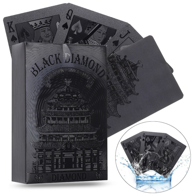 New 54pcs Waterproof Black Plastic Playing Cards Collection Black Diamond Poker Cards Top Gift Standard Playing Cards