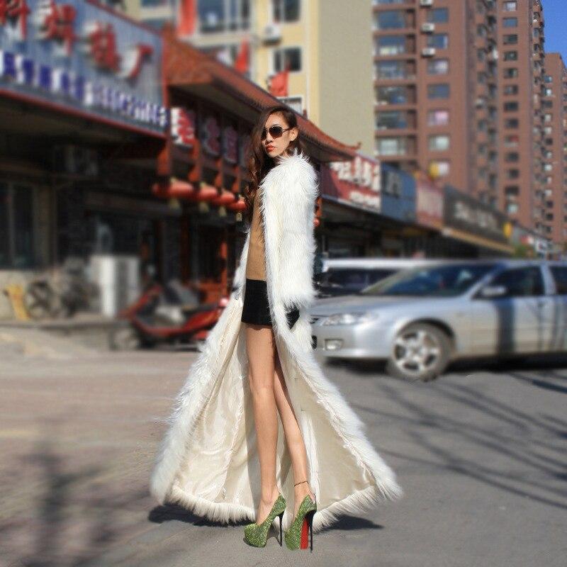 Mince Lumière Imitation Ultra De Mode Aikook Femmes White Manteau Luxe Artificielle Outwear Faux Coupe Renard vent Fourrure Longue wXZwHxO6