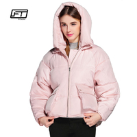 Fitaylor Winter Women Cute Jacket Short Design Cotton Padded Hooded Causual Warm Snow Outwear Loose Bread