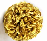 5pcs/Lot 20cm Gold Rose Kissing Ball Artificial Silk Flower For Wedding Party Holiday Venue Decoration