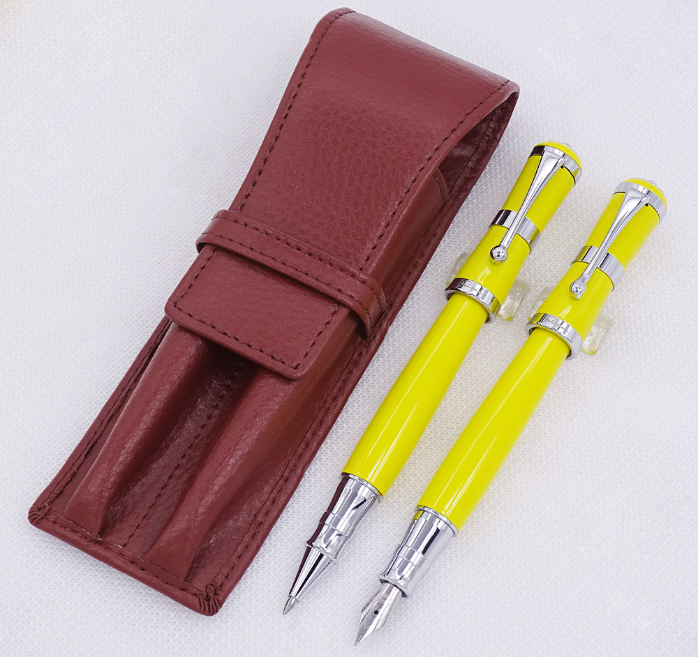 Fuliwen 2051 Yellow Metal Fountain Pen & Roller Pen with Real Leather Pencil Case Bag Washed Cowhide Pen Case Holder Writing Set цены