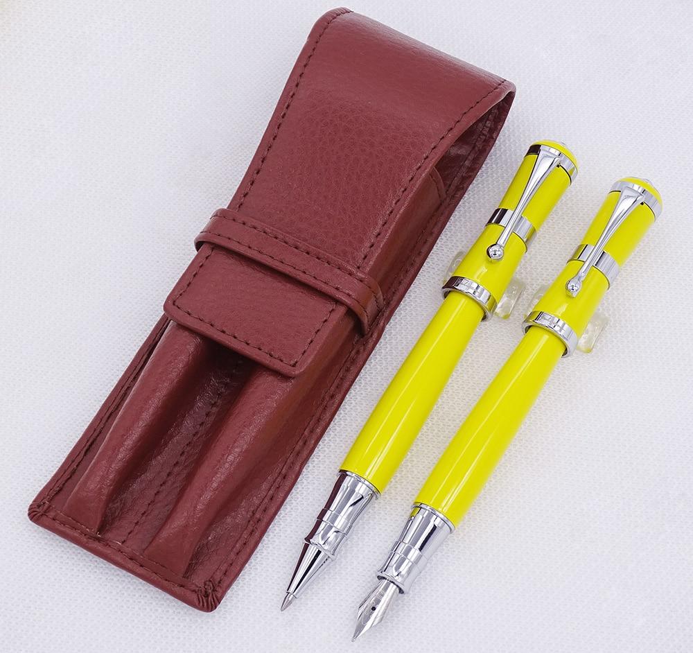 Fuliwen 2051 stylo plume en métal jaune et stylo à bille avec étui à crayons en cuir véritable sac lavé étui à stylo en peau de vache ensemble d'écriture